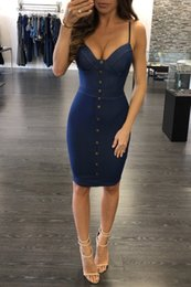 $enCountryForm.capitalKeyWord Australia - 2017 Summer High Quality Denim Fabric Sheath Women Casual Dresses with Spaghetti V Neck Sleeveless Cheap Girl Dress Real Photo
