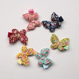 Animal Handmade Canada - 20pcs lot Small Size Animals Hair Clips Pink Butterfly Hairpins Kids Handmade Girls Gift Colorful Cotton Barrettes Double Level