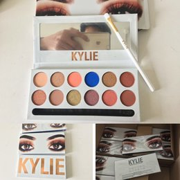 Barato Sombras Do Kit-Kylie The Royal Peach Palette Kylie Kyshadow sombra de olho Kit 12 cores Sombra Bronze e Burgundy Palette DHL shipping