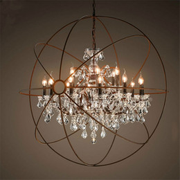 Ingrosso Lampadario di cristallo del globo dell'annata dell'hardware del paese che accende i candelieri della candela del ferro rustico di RH luce globo lampada a sospensione a LED decorazione domestica