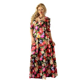 2017 Women sexy Print 5XL 6XL Beach Tunic Plus Size Long Dress V-neck Half  Sleeve Evening Party Large size Maxi Dress clothing f008dc2fdc87