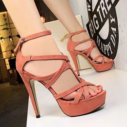Discount red gladiator pumps - 2017 Retro Sandals Women Pumps Heels PU Leather Open Toe Thin High Heels Festival Party Wedding Shoes Formal Pumps Sanda