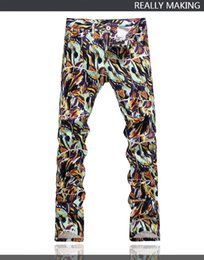 $enCountryForm.capitalKeyWord NZ - Hot Original Design Men's Trend Unique Printing Jeans Punk Rock DS DJ Style Painted Printed Slim Stage Jeans Motorcycle Jeans