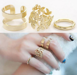 Hollow Fingers Australia - Fashion Hollow Leaf Rings 3pcs Set Finger Nail Ring Women Girls Party Jewelry Accessories Personality Punk Ring