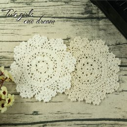 $enCountryForm.capitalKeyWord NZ - Placemat Cup Tea Coaster Pot Mug Holder Kitchen Accessory Handmade Felt Table Cloth Lace Crochet Doily Pad 16-18CM 20PCS LOT