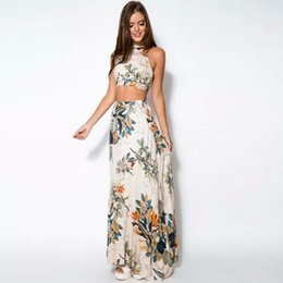 Robes Sexy Sans Dossier Halterneck Pas Cher-Vente en gros - 2 Piece Set Party Beach Femmes Robes Lady Summer Long Maxi Robe Mode Sexy Cross Backless Halterneck Floral Impression Vestido