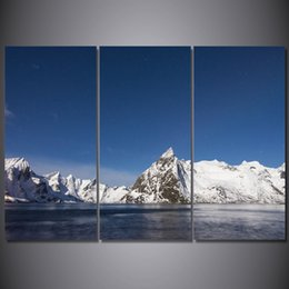 set three canvas prints Australia - 3 Pcs Set Framed HD Printed Ice Mountain Lake Picture Wall Art Canvas Print Decor Poster Canvas Modern Oil Painting