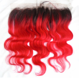 Red Closure Canada - T1b Red Ombre Lace Frontal Closure Two Tone Brazilian Peruvian Indian Malaysian Body Wave Ear To Ear Lace Closure Virgin Remy Human Hair