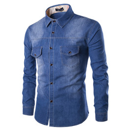 $enCountryForm.capitalKeyWord Canada - Wholesale- New Mens Jean Shirt 2016 Cotton Slim Fit Brand Casual Denim Shirts Long Sleeve Male Cowboy Shirt Camisa Jeans Masculina Size 6XL