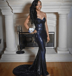 Empire De Chérie De Longue Robe Pas Cher-2017 New Navy Blue Sequins Robes de soirée sirène Long Sweetheart Elegant Women Formal Evening Prom Party Gowns Custom Made