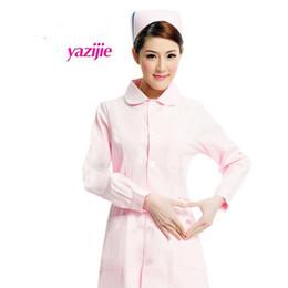 dedf24483 Médico branco de manga comprida vestido de enfermeira uniforme de manga  curta experiência sob drogaria salão de beleza trabalho 052