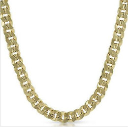 China Mens 14k Yellow Gold Plated 24in Italian Cuban Chain Necklace 10 MM suppliers