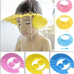 Hair Visor Caps Canada - Wholesale- Fashion Kids Shampoo Bath Shower Cap Visor Wash Hair Shield Hat With Ear Cover Bathroom Products