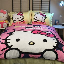 sale kids girls cartoon comforter duvet quilt cover hello kitty bed bedding set queen king twin bed sheet linen bedspreads