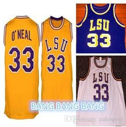 278d9f72b0a Shaq Lsu Jersey  33 Shaquille Oneal jersey retro college White yellow  purple Men s Embroidery basketball jersey