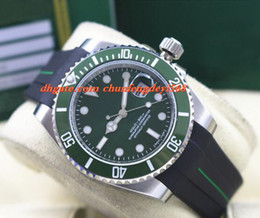 Men Luxury Rubber Watches Canada - Fashion Luxury Rubber Bracelet 116610 WHITE GOLD Green Ceramic BEZEL DIAL 40MM Automatic Movement Men Watches New Arrival