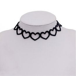 Women Costume Jewelry UK - Simple Sexy Black Hollow Out Heart Tatto Velvet Lace Chokers Fashion Costume Jewelry Women Short Necklace terciopelo collare