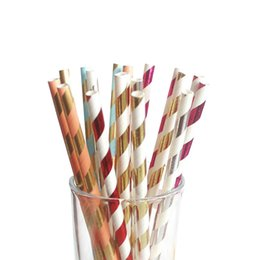 decorative drinking straws Canada - Colorful Assorted striped decorative disposable paper drinking straws 100pcs Light Pink Fuchsia Metallic Gold Striped