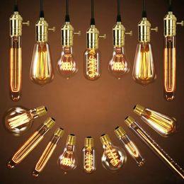 $enCountryForm.capitalKeyWord NZ - 40W Retro Lamp Edison Bulb ST64 Vintage Socket DIY Rope Pendant E27 Incandescent led Bulbs 220V 110V Holiday Lights Filament Lamp Lampada
