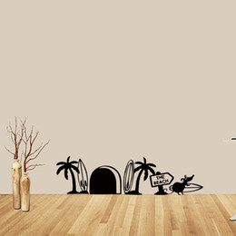 Large mouse waLL stickers online shopping - Mouse Hole Wall Art Sticker Surfing Beach Mice Vinyl Removable Bedroom Sitting Room Humour Art Diy
