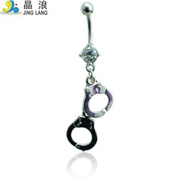 Discount handcuff rings Wholesale Price! Brand New High Quality Fashion Metal Dangle Handcuff Navel Piecing Rings For Women Body Jewelry