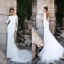 Barato Manga De Renda Vestido De Noiva De Volta-Vintage Lace 2017 Mermaid Wedding Dresses Bateau Neckline Long Sleeve Vestidos de casamento Sweep Length Backless Button Back Vestido de noiva