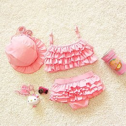 LittLe girLs two piece suits online shopping - kids swimwear girls two pieces child swimsuit with ruffle mermaid tails for children bikini baby girl little girls swim suits With caps