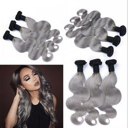 Discount new roots hair extensions New Sale #1B Gray Wavy Human Hair 9A Brazilian Virgin Hair Body Wave Silver Grey Dark Roots Ombre Hair Weave Extensions 3Pcs Lot