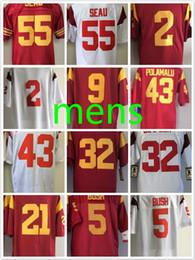 best service b5b2d f9537 usc trojans 55 junior seau red jersey