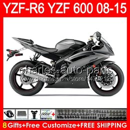 Fairing r6 silver online shopping - 8gifts For silver YAMAHA YZF R6 YZF600 YZF R6 NO148 YZFR6 TOP gloss black Fairing