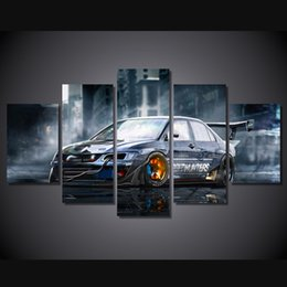 free car posters 2018 5 pcs set framed hd printed modified car painting canvas print