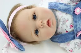 Free Silicone Reborn Babies Canada - Free shipping 22inch reborn baby doll lifelike soft silicone vinyl real gentle touch