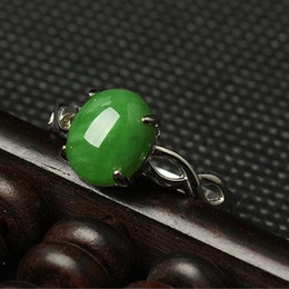 Women Jade Ring NZ - New China traditional Xin jiang He tian jadeite Ring emerald Ring mobilizable jasper Sterling silver jade green for women