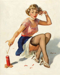 $enCountryForm.capitalKeyWord NZ - VINTAGE PINUP GIRL Gil ELVGREN,Hand Painted Art Oil painting Fire Cracker,Home Wall Decor High Quality Canvas size can be customized
