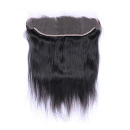 Rett mänskligt hår 13x4 spets frontlinstopp för plockade naturliga hårlinjeförslutningar