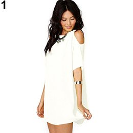 Barato Vestidos De T-shirt De Mulheres Por Atacado-Atacado- 2016 Moda feminina Verão Sexy Off Shoulder Chiffon Short Sleeve T-Shirt Tops Mini Dress