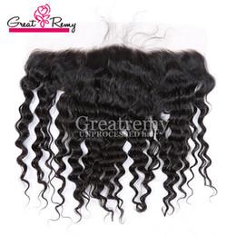 Опт Ухо до уха глубоко волна кружева лобное закрытие волос с младенцами волосы крупным планом необработанные перуанские девственные человеческие волосы наращивание волос