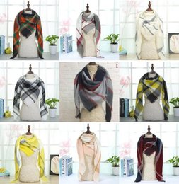Fashion Scarves Canada - New Plaid Blankets Scarves Triangular Tartan Lattice Scarf Grid Scarf Wrap Fashion Neckerchief Winter Shawl Checked Pashmina 40 Design