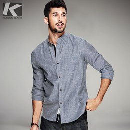 Barato Camiseta Retro Fit Camisa-Atacado- KUEGOU Spring Mens Moda Camisas Retro Striped Blue Grey Brand Clothing Man's Long Sleeve Slim Fit Clothes Masculino Wear Tops 3153