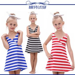 clothing for beach party 2019 - Kids Fashion Clothes Summer Beach Girl Dress Baby Girl Clothing Children Dresses Stripe Party Dresses for Girls Baby Clo