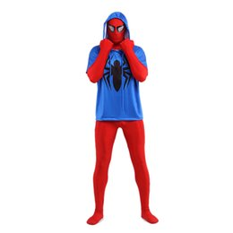 red lycra spiderman suit 2019 - Two Pieces Red And White Spiderman Costume Lycra Spandex Super Hero Zentai Suit For 2017 Halloween Events discount red l
