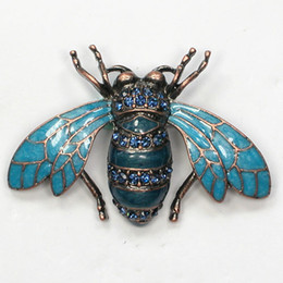China 12pcs lot Wholesale Crystal Rhinestone Enameling brooch Bee pin Brooches Fashion Costume jewelry gift C709 suppliers