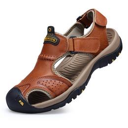 Kukucos sandálias de verão masculino saco de couro sapatos de couro anti - derrapante ao ar livre respirável sapatos casuais diários dos homens