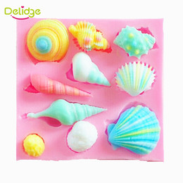 chocolate shells wholesale UK - Delidge 20 pc 10 Shapes Shell Cake Mold Silicone 3D Shell Conch Shape Fondant Mold Cake Chocolate Moulds Conch Sugar Craft Mould