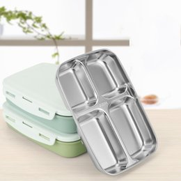 Eu tin online shopping - Student Lunch Box Microwave Oven Double Lattice Mess Tin Portable Rectangle High Capacity Food Dinner Pail ct C R