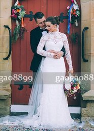 Modest high collared wedding dress online shopping - 2017 Modest Lace Country Wedding Dresses Bridal Gowns High Neck Long Sleeve Wedding Dress With Covered Button Back Cheap