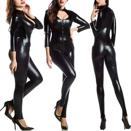 Costumes Pour Femme Pas Cher-New Arrival Women Exotic Apparel Gothic Sexy Black Leatherette Jumpsuit Buckle Neck Fetish Clubwear Pole Dancing Costume S-5XL
