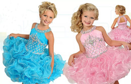 mini cupcake black Australia - 2020 Glitz Cupcake Girls Pageant Dresses Pink Organza Ruffles Flower Girls Dress Fashionable Birthday Party Mini Beaded Crystal Ball Gowns