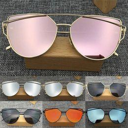 $enCountryForm.capitalKeyWord Canada - Fashion Women's Men's Sunglasses Flat Lens Mirror Metal Frame Oversized Cat Eye Sun Glasses GC50 Free Shipping