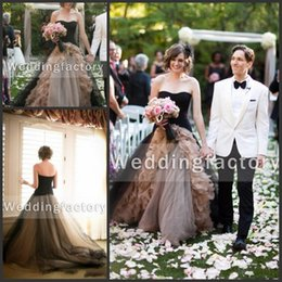 Fabulous ball gowns online shopping - 2018 Fabulous Champagne Black Gothic Wedding Dress Ball Gown A Line Strapless Ruffles Tulle Zipper Back Sweep Train Vintage Bridal Gowns